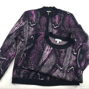 St John Sport Sweater Set Purple Animal Print